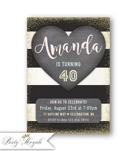 Invitaciones De Cumpleaños Adultos 40 Cumpleaños 50 Años O Cualquier Edad Y Negro Pastel Pizarra Cumpleaños Brunch Cena