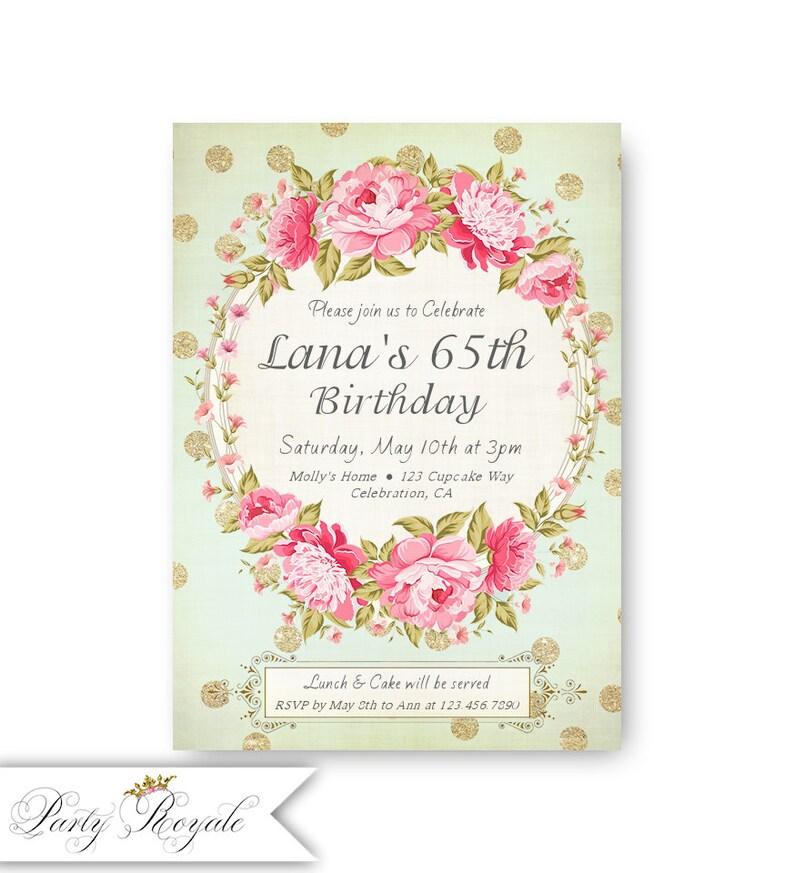 65th Birthday Invitations Womens Invites 60th