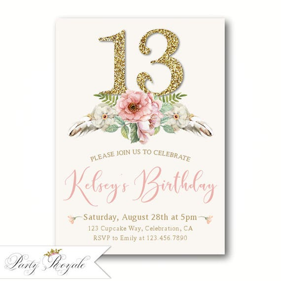 Teens 13th Birthday Invitations Girls