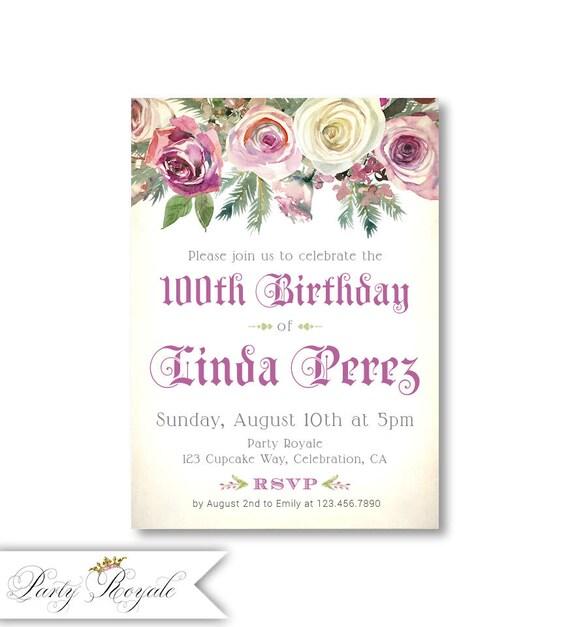 100th birthday invitations for women elegant floral invite etsy