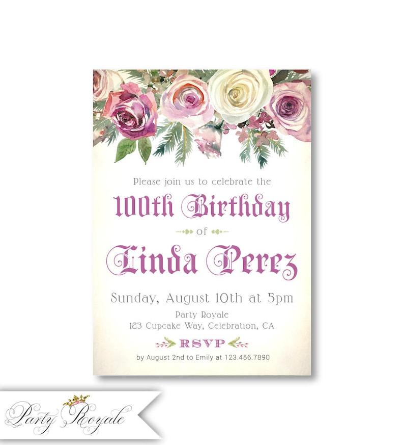100th Birthday Invitations For Women Elegant Floral Invite