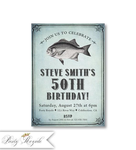50 invitaciones de cumpleaños para él invita a pesca | Etsy