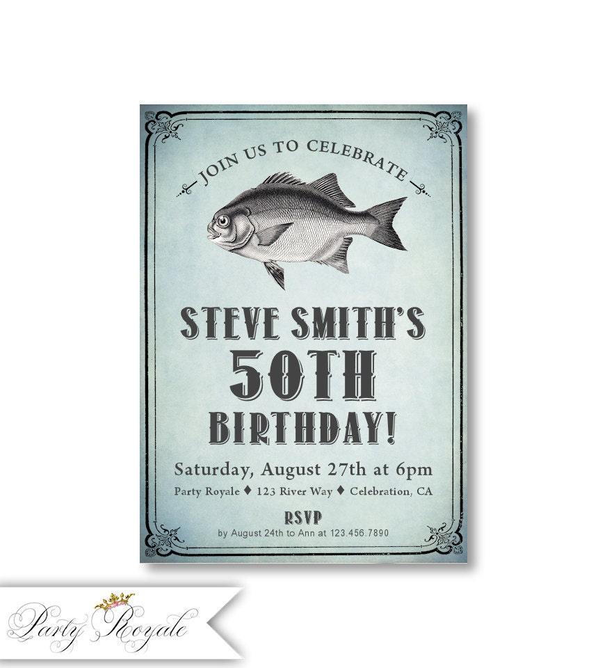50th Birthday Invitations For Him Men's Fishing Birthday