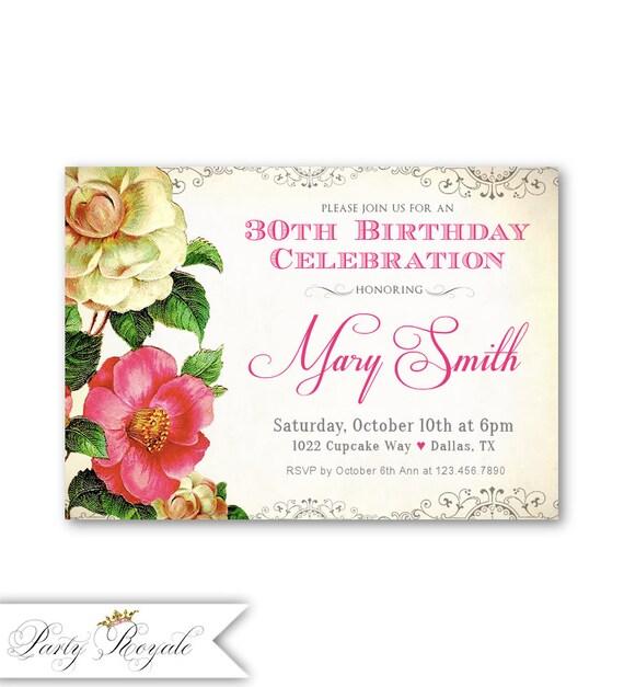 Invitaciones De Cumpleaños Para Mujeres Invita Digital Etsy