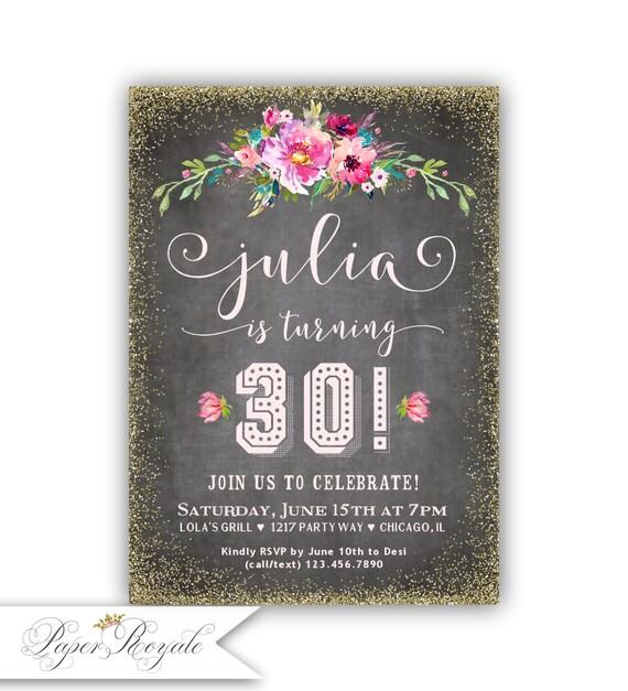 30th Birthday Invite Printable Adult Invitation