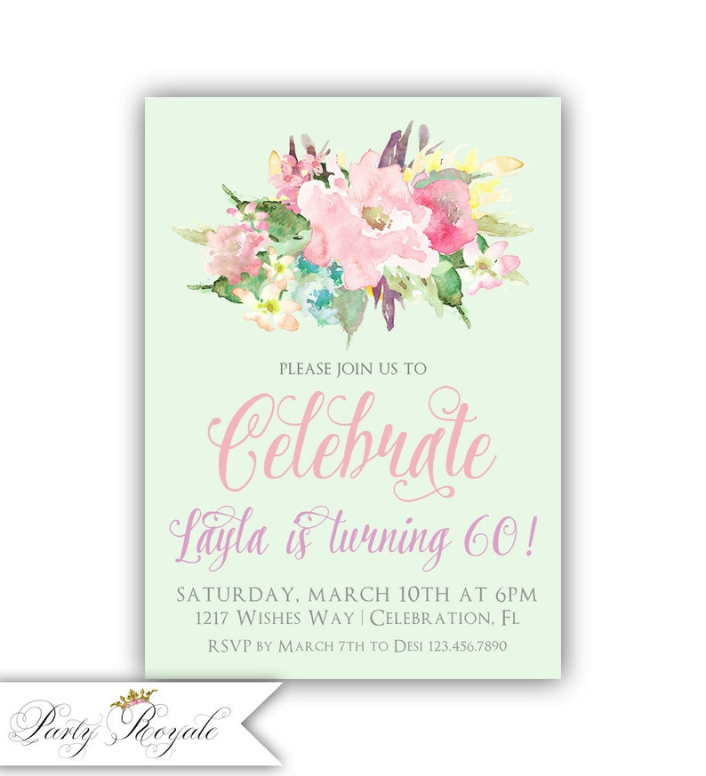 Womens 60th Birthday Party Invitations For Her Turning Sixty 60 And Fabulous Dinner Brunch Lunch