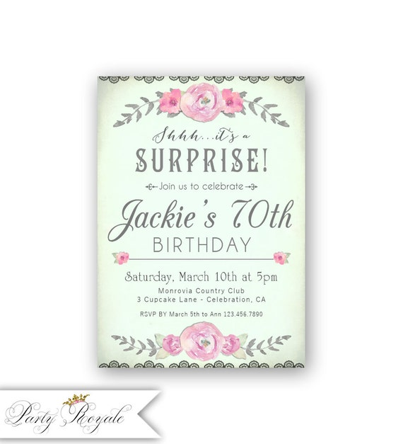 Mint Surprise Birthday Invitations Womens 70th