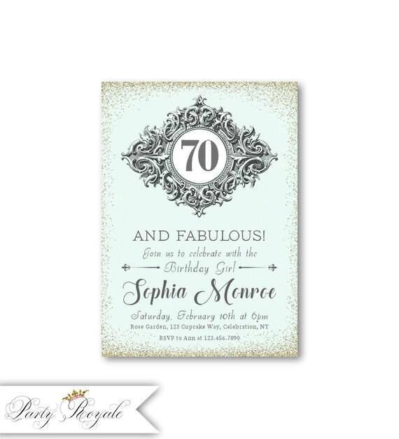 Elegant 70th Birthday Invitations For Women 70 And Fabulous