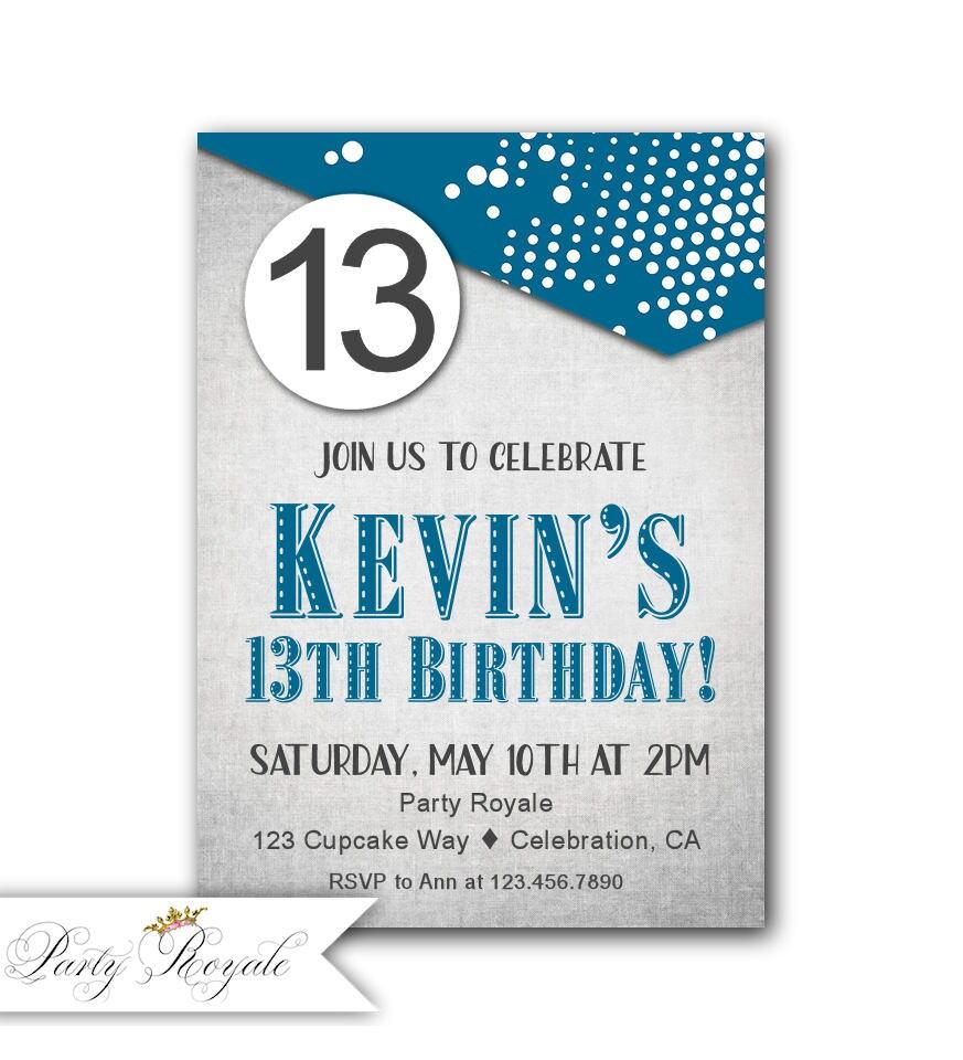 13th Birthday Invites boy Teen Boy 13th Birthday Invitations | Etsy