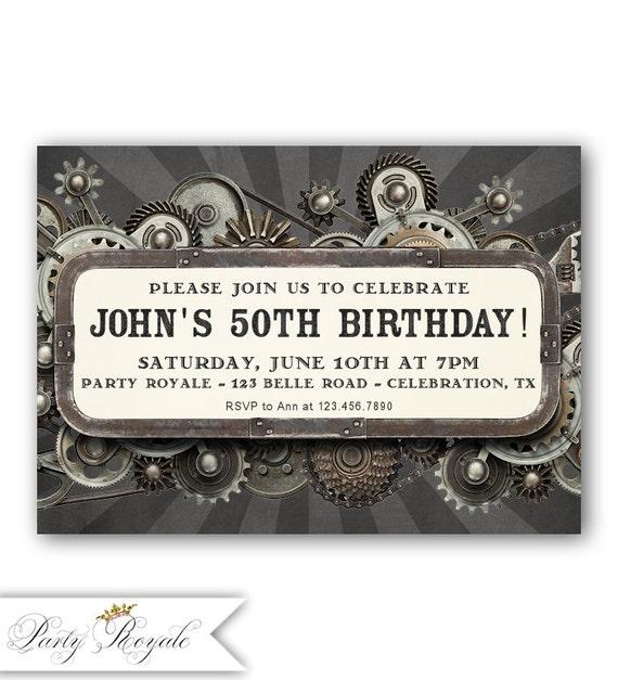 Verjaardagsuitnodigingen Voor Een Man Mannen Verjaardag 50e Etsy