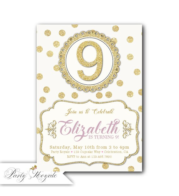 Gold 9th Birthday Invitation Girl Printable