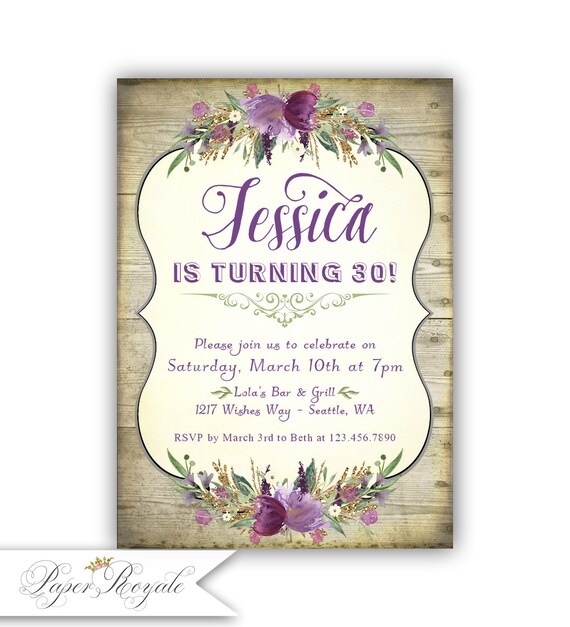 Rustic Wood Birthday Party Invitations 30th Or Any