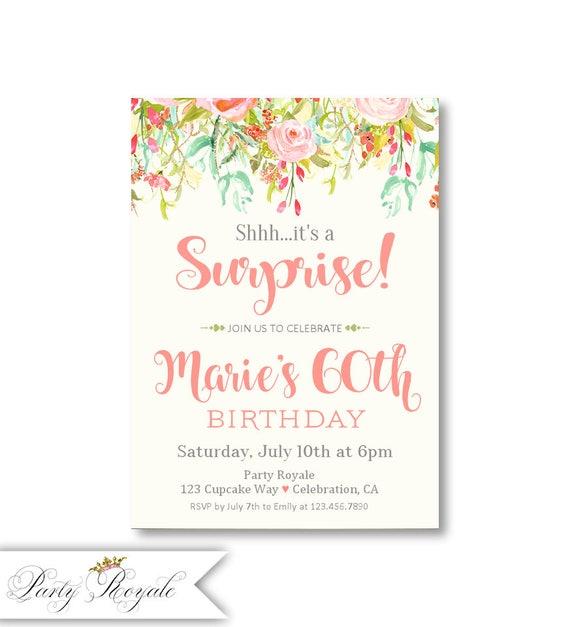 Surprise Birthday Invitation 60th Invites