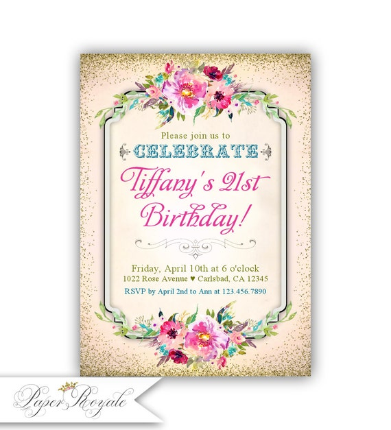 21st Birthday Party Invitations For Her