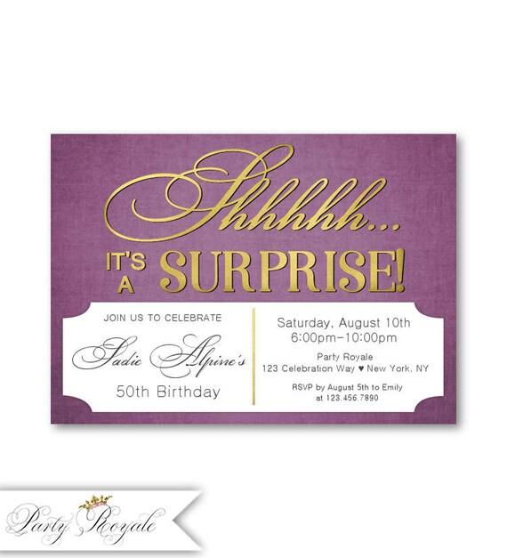 Birthday Invitations For Women 50th Surprise Plum