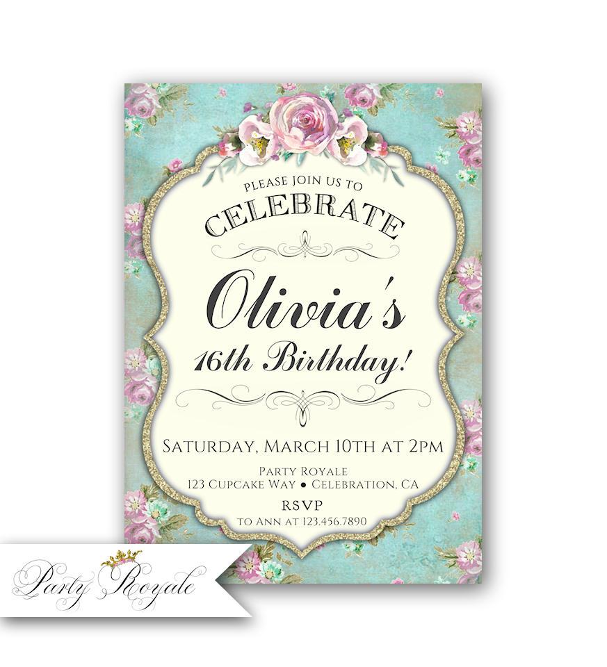 Teen Birthday Invitation for Girls 16th Birthday Invitation   Etsy