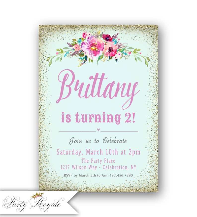 Girls 2nd Birthday Invitations Gold Glitter Shabby Chic
