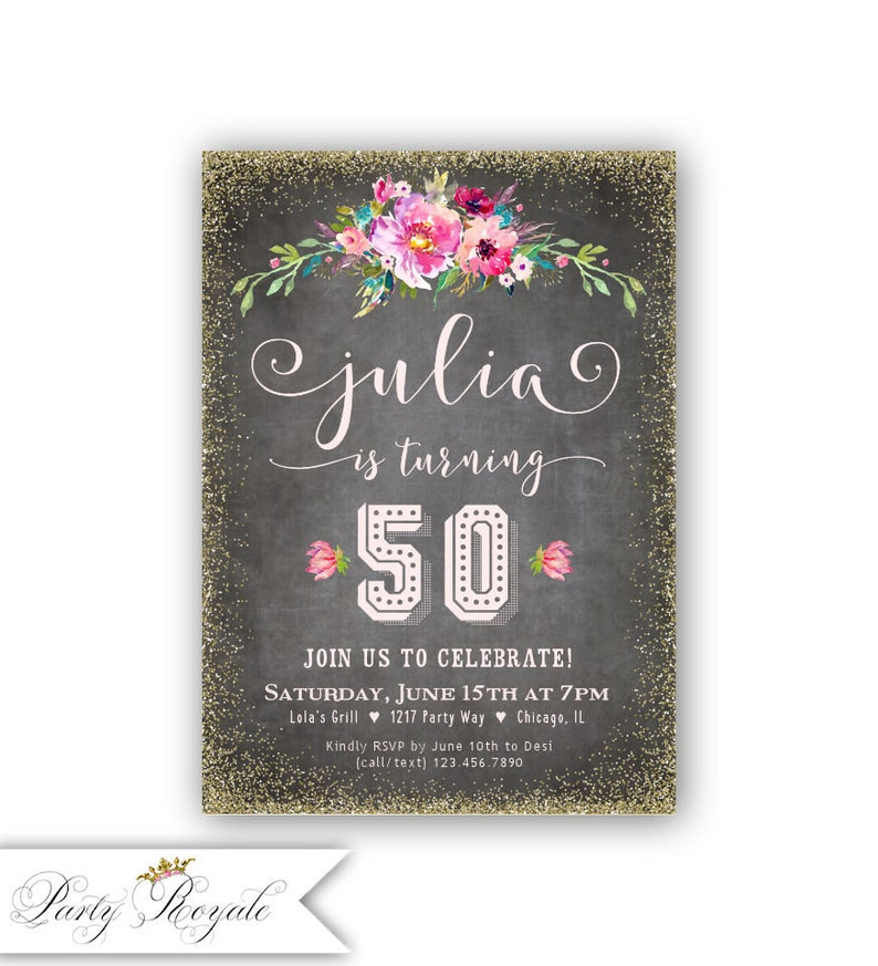 50th Birthday Invite Printable Adult Invitation