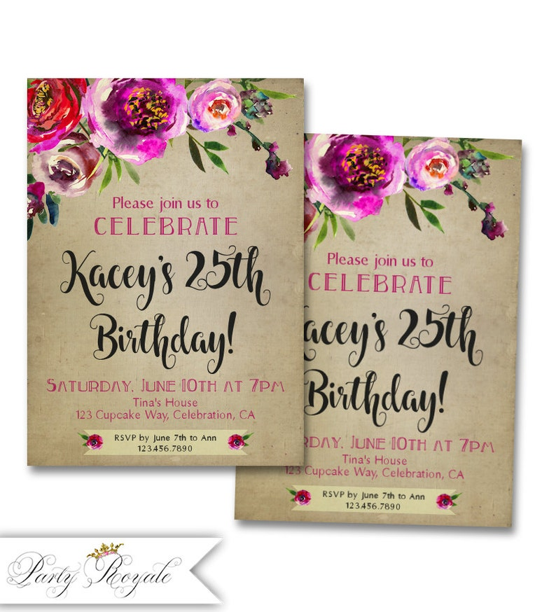 25th Birthday Invitations For A Woman Rustic Chic Style