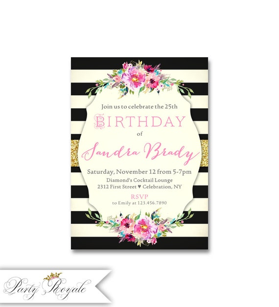 Elegant 25th Birthday Invitations Adult Party
