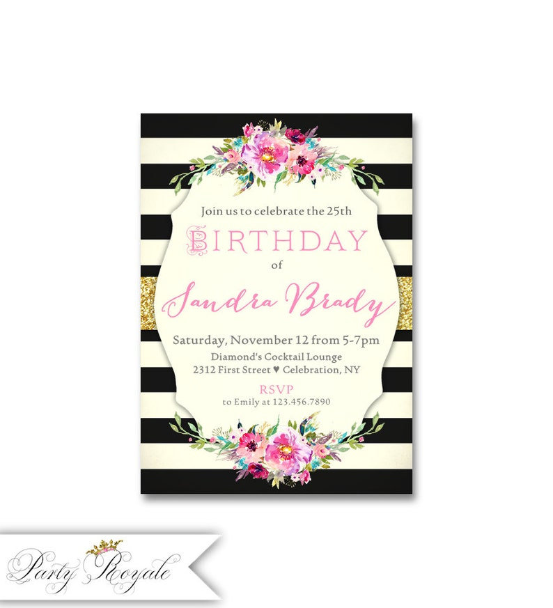 Elegant 25th Birthday Invitations Adult Party Dinner For A Woman Surprise Any Age