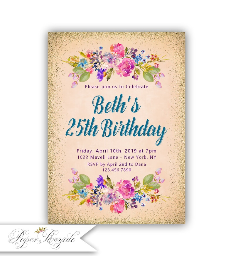 Gold Glitter Adult Birthday Party Invitations 25th Invites For Women