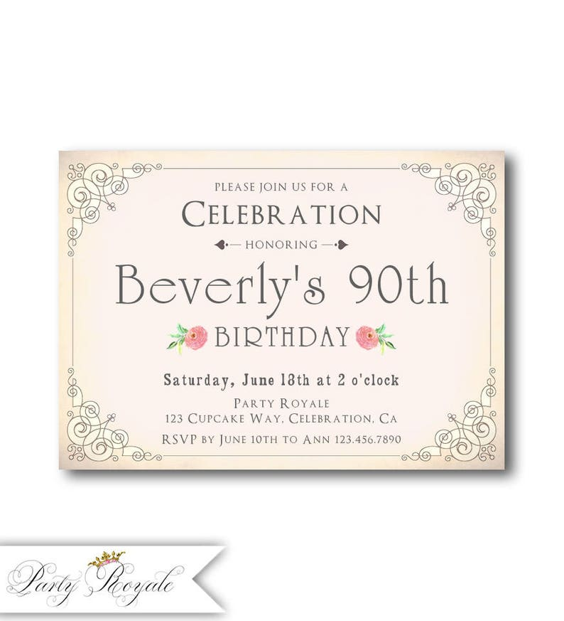 Blush Pink 90th Birthday Invitations For Her Womens