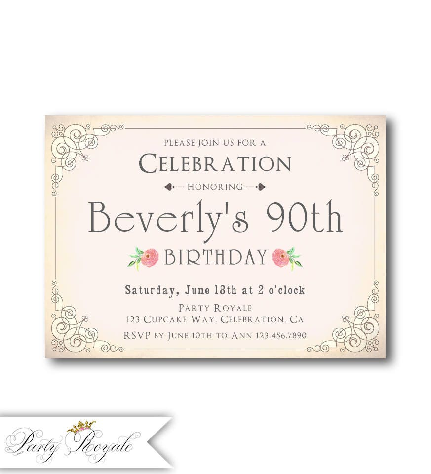 Blush Pink 90th Birthday Invitations for her Women\'s 90th | Etsy
