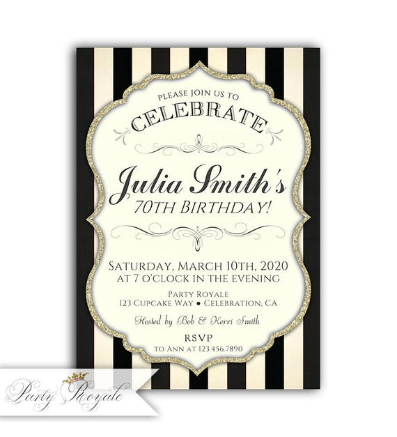 70th Birthday Invitations For Women Invite