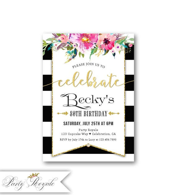 60th 70th 80th 90th Birthday Invitations Womens