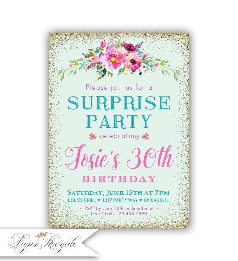 Adult Birthday Invitations For Her Surprise 30th