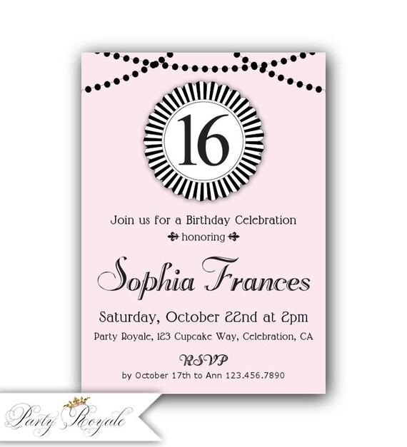 16th birthday invitation sweet 16th birthday party etsy