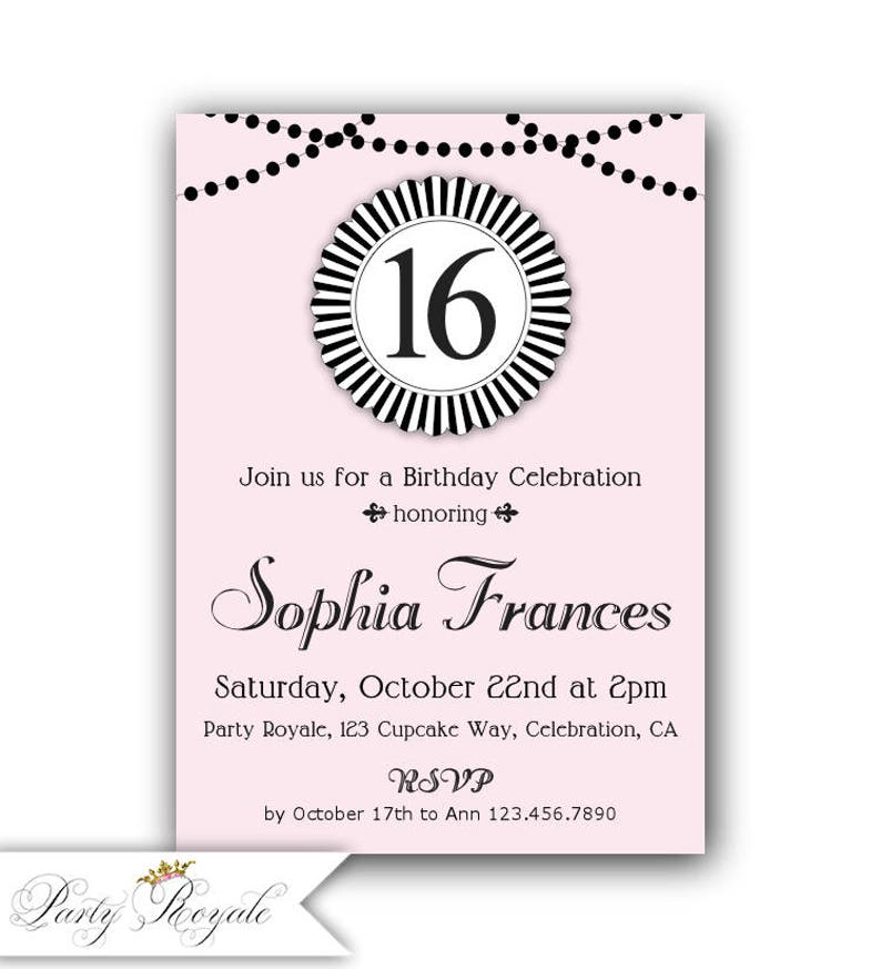 16th Birthday Invitation Sweet Party