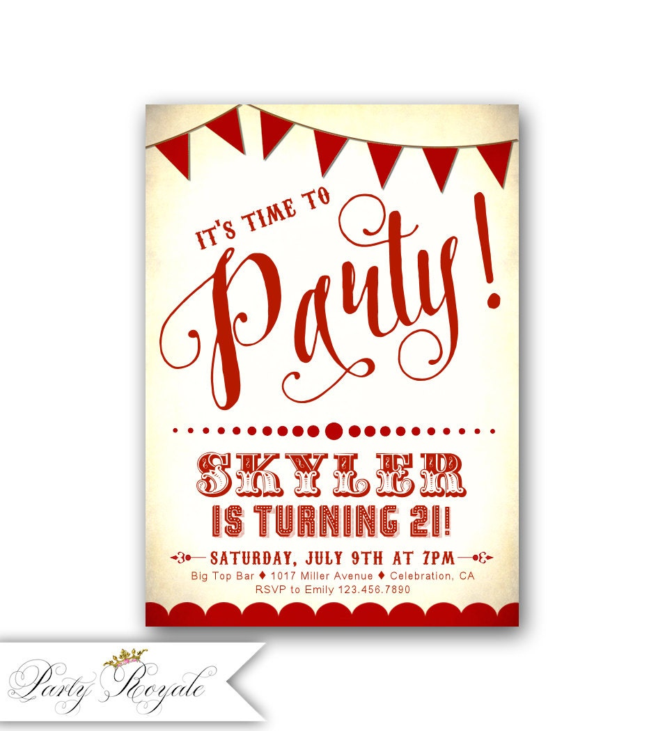 Adult Birthday Party Invitations / Red and White Circus | Etsy