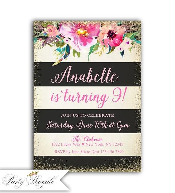 9th Birthday Invitation Girl Printable Invites