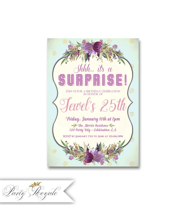 Surprise 25th Birthday Party Invitations For Her Purple