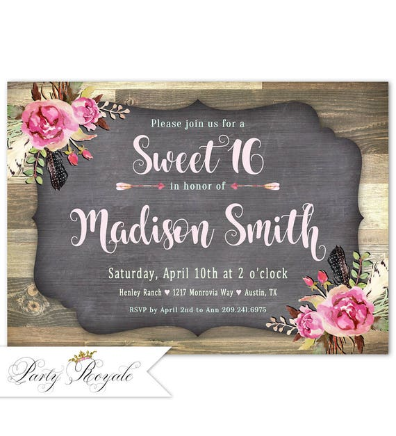 Rustic Sweet 16 Birthday Invitations Sixteen