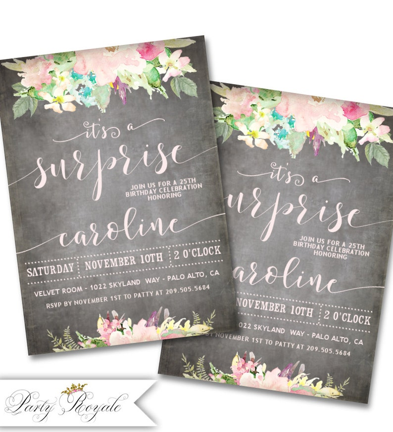 SURPRISE PARTY Invitations For Women 25th Birthday Party Milestone Birthdays Any Age Pastel Chalkboard Style