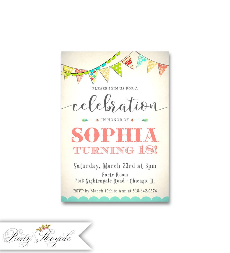 Teen Girls 18th Birthday Party Invitations Colorful Bunting Womens Milestone Birthdays Any Age Digital Or Printed Cards