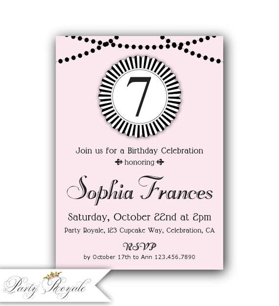 pink and black 7th birthday invitation 8th birthday etsy
