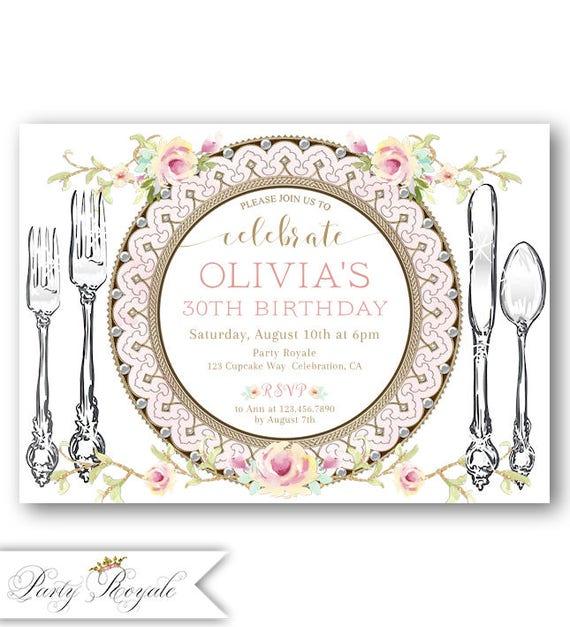 Elegant Birthday Dinner Invitation Party