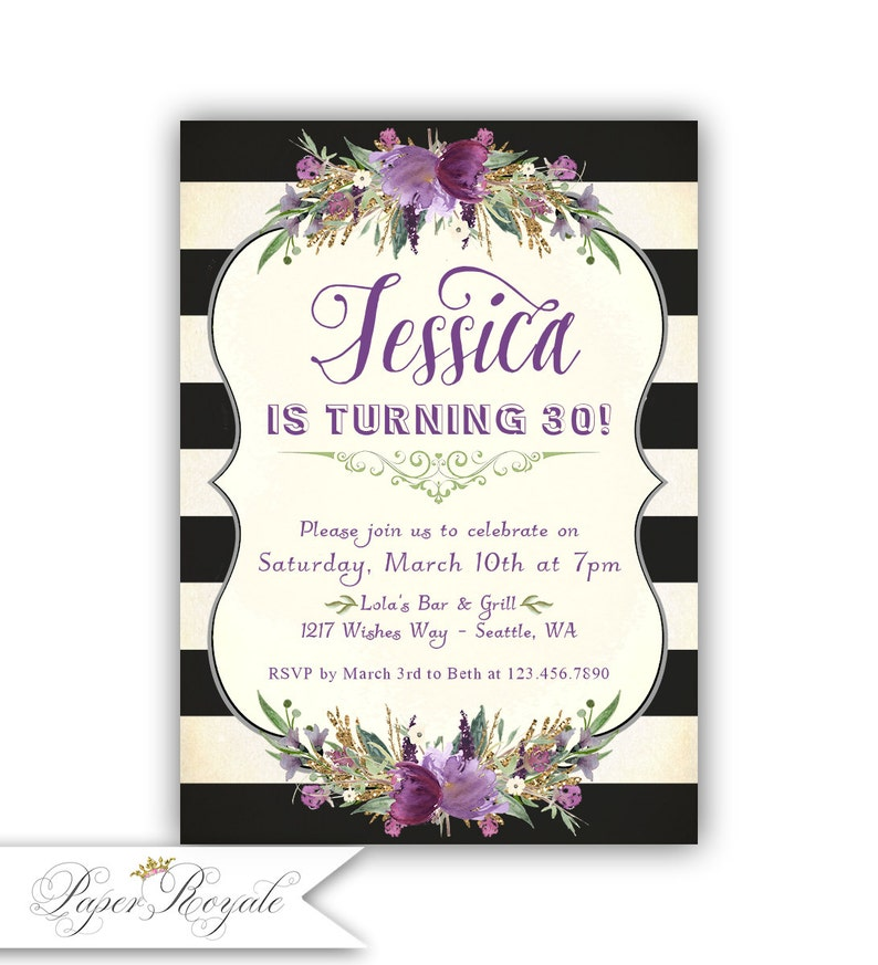 Black And White Invitations Birthday Party Invites Women