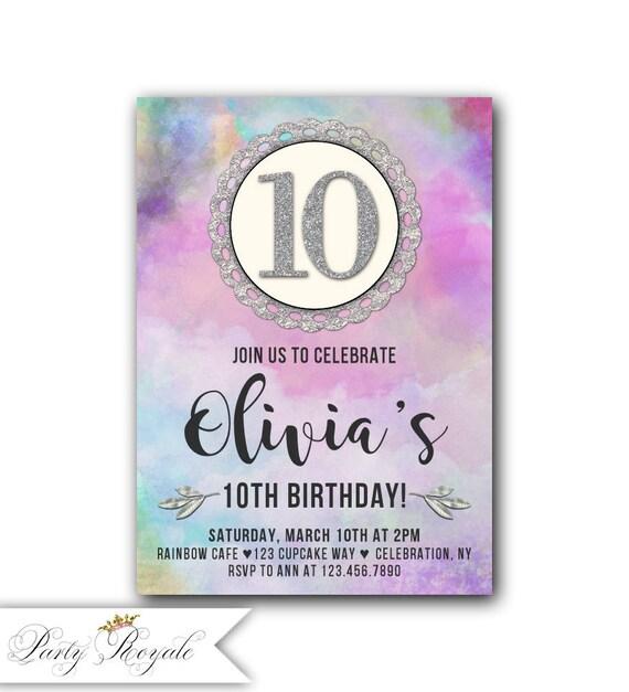 girls 10th birthday invitation rainbow sky birthday etsy