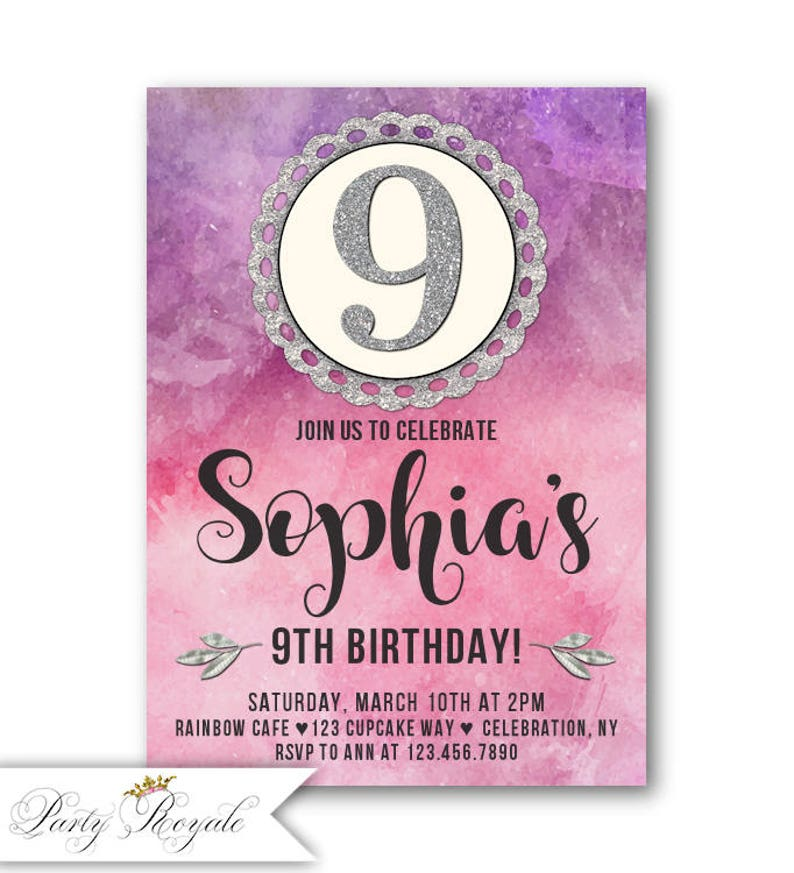 9th Birthday Invitations For Girls Purple
