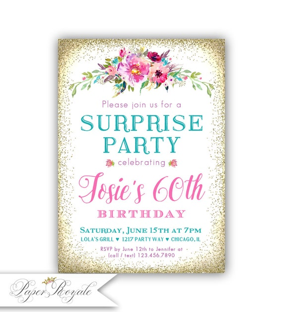 surprise 60th birthday invitation women s surprise party etsy