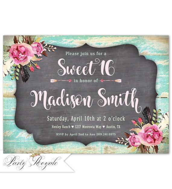 Sweet 16 Invitation Rustic 16th Birthday Invite