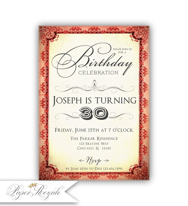 30th Birthday Invitations For Him Party Surprise Dinner Mens