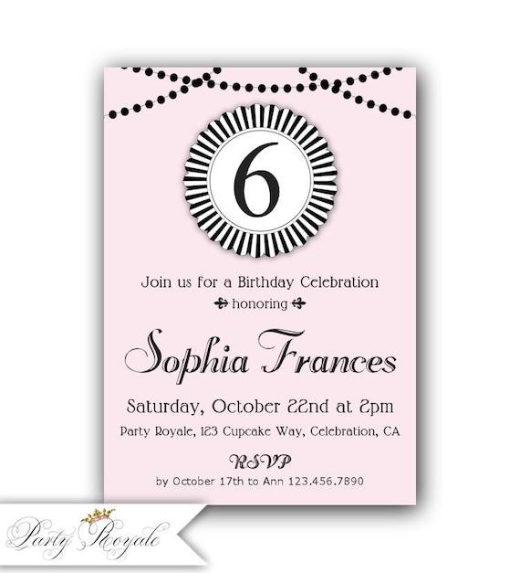 6th Birthday Invitations Pink And Black 7th