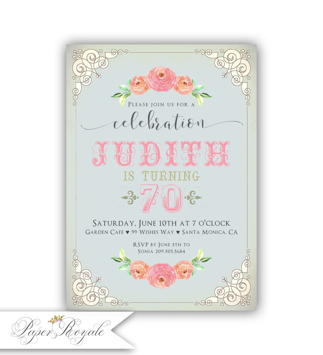 70th Birthday Invitations For A Woman Adult Birthday Party