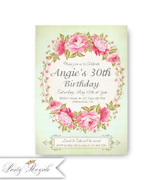 Menta 30 Invitaciones De Cumpleaños Para Una Mujer De 30 Años De Mujeres Cumpleaños Invita Archivo Bricolaje Digital Imprimible O Tarjetas Impresas